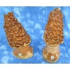 One Set of Two Wooden Morel Mushrooms